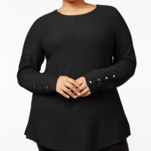 Alfani Plus Size Ribbed Snap Detail Sweater